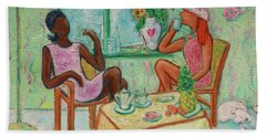 Beach Towel featuring the painting Girlfriends' Teatime V by Xueling Zou