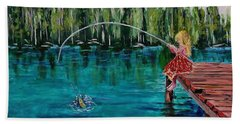 Girls Can Fish Beach Towel by Mike Caitham