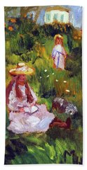 Beach Towel featuring the painting Girls In The Field, After Monet by Michael Helfen