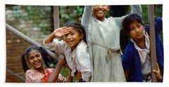 Girls Smiling In Kathmandu, Nepal Beach Towel