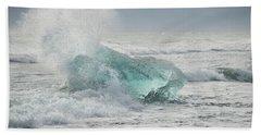 Glacial Iceberg In Beach Surf. Beach Towel