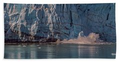 Beach Towel featuring the photograph Glacier Bay Ice Calving by Brenda Jacobs