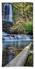 Glacier National Park Waterfall 3 Beach Towel