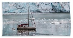 Beach Towel featuring the photograph Glacier Sailing by Ed Clark