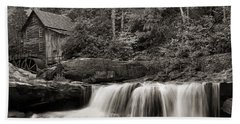 Glade Creek Grist Mill Monochrome Beach Towel by Chris Flees