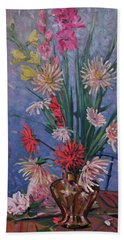 Gladiolas And Dahlias Beach Sheet by Donald Maier
