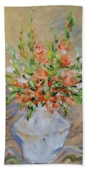 Beach Towel featuring the painting Gladiolas by Judith Rhue