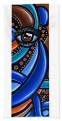 Abstract Eye Art Acrylic Eye Painting Surreal Colorful Chromatic Artwork Beach Sheet