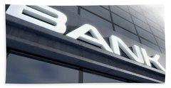 Glass Bank Building Signage Beach Towel