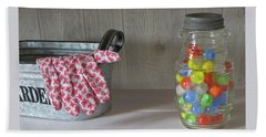 Beach Towel featuring the photograph Glass Marbles From Childhood by Nancy Lee Moran