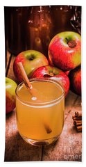 Glass Of Fresh Apple Cider Beach Towel