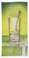 Glass With Melting Fork Beach Towel