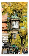 Beach Towel featuring the painting Glen Ellyn Corner Clock by Christopher Arndt