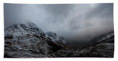 Beach Towel featuring the digital art Glencoe - Three Sisters by Pat Speirs