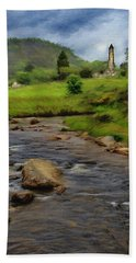Beach Towel featuring the painting Glendalough In The Distance by Jeff Kolker