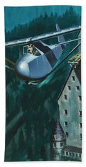 Glider Escape From Colditz Castle Beach Sheet by Wilf Hardy
