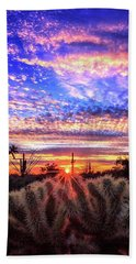 Beach Towel featuring the photograph Glimmering Skies by Rick Furmanek