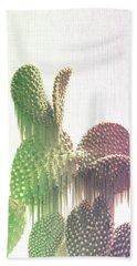 Glitch Cactus Beach Towel