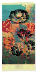 Beach Towel featuring the digital art Glitched Tulips by Bee-Bee Deigner