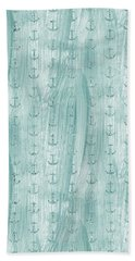 Glittery Mint Anchors Beach Towel