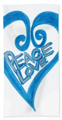 Global Peace And Love Heart Beach Sheet