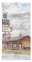 Globetrotter Lodge In Route 66, Holbrook, Arizona Beach Sheet by Carlos G Groppa