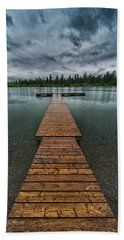 Beach Towel featuring the photograph Gloomy Rainy Day On Norbury Lake by Darcy Michaelchuk