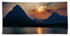 Beach Towel featuring the photograph Glory At Many Glacier by Lon Dittrick