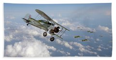 Beach Towel featuring the digital art  Gloster Gladiator - Malta Defiant by Pat Speirs
