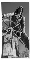 Gloucester Fisherman's Memorial Statue Black And White Beach Towel