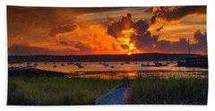 Gloucester Harbor Sunset Beach Towel