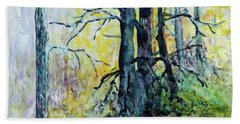 Beach Towel featuring the painting Glow From The Tamarack by Joanne Smoley