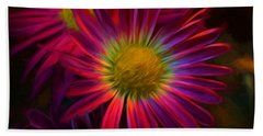 Glowing Eye Of Flower Beach Towel by Lilia D
