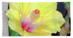 Glowing Hibiscus Flower Beach Towel