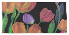 Beach Towel featuring the painting Glowing Tulips by Meryl Goudey