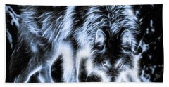Glowing Wolf In The Gloom Beach Towel