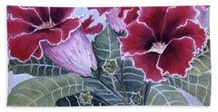 Beach Towel featuring the painting Gloxinias by Karen Zuk Rosenblatt
