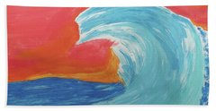 Beach Towel featuring the painting Gnarly Wave  by Don Koester