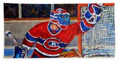 Goalie Makes The Save Stanley Cup Playoffs Beach Sheet by Carole Spandau