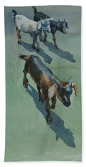 Beach Towel featuring the painting Goat by Helal Uddin