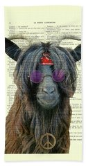 Goat In Hippie Clothes With Purple Glasses And Peace Necklace Beach Towel