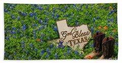 God Bless Texas II Beach Towel by John Roberts