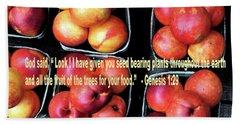 God Gives Fruit For Food Beach Towel