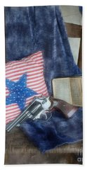 Beach Sheet featuring the photograph God, Guns And Old Glory by Benanne Stiens