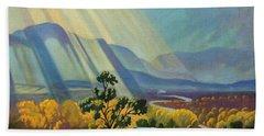 God Rays On A Blue Roof Beach Towel