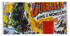 Godzilla King Of The Monsters An Enraged Monster Wipes Out An Entire City Vintage Movie Poster Beach Sheet