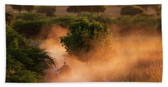 Going Home At Sunset Beach Towel