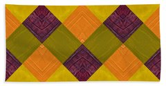 Gold And Green With Orange 2.0 Beach Towel by Michelle Calkins