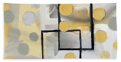 Gold And Grey Abstract Beach Towel