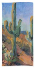 Beach Towel featuring the painting Gold Canyon Saguaros by Diane McClary